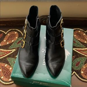 Paul Green black leather booties